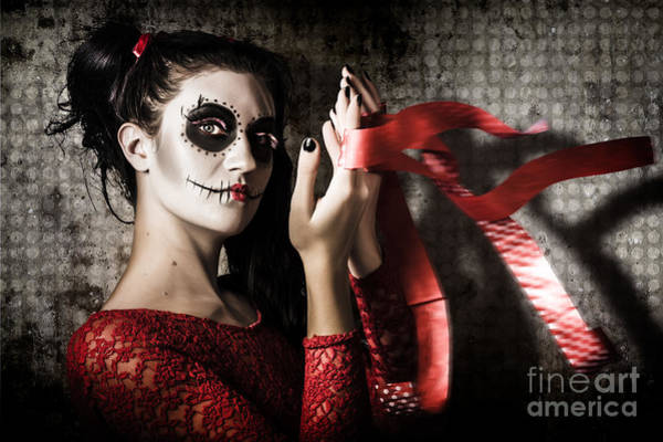 Mexico Sugar Skull Girl Performing Death Dance Poster