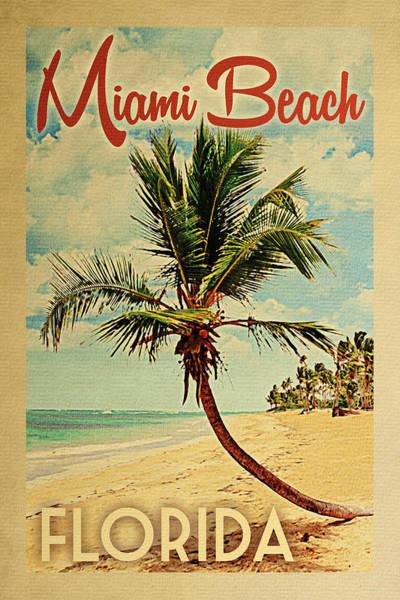 Miami Beach Florida Palm Tree Poster