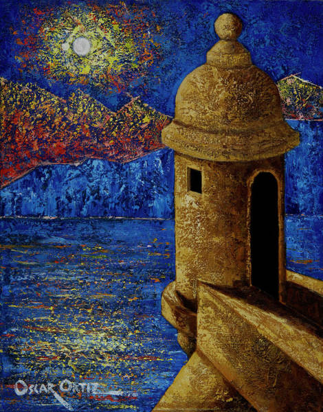 Poster featuring the painting Midnight Mirage In San Juan by Oscar Ortiz