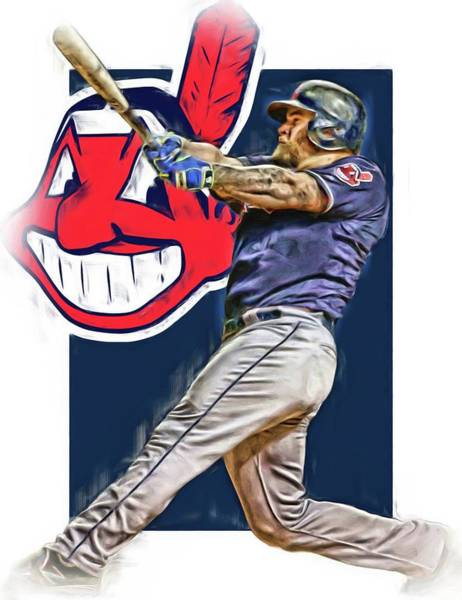 Mike Napoli Cleveland Indians Oil Art 2 Poster