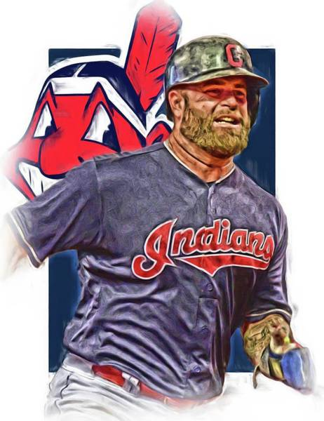 Mike Napoli Cleveland Indians Oil Art Poster