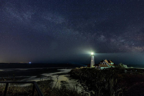 Milky Way At Portland Head Light Poster