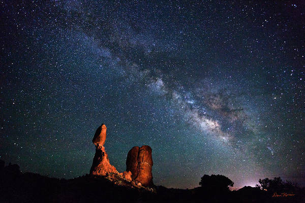 Milky Way Over Balanced Rock Poster