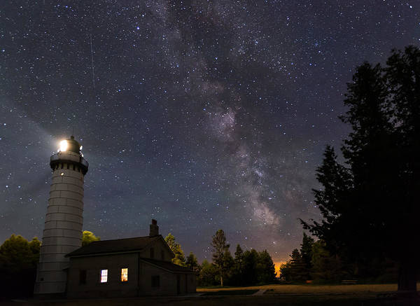 Milky Way Over Cana Island Lighthouse Poster