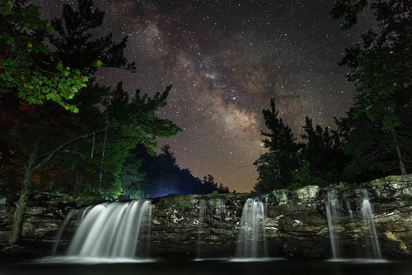 Milky Way Over Falling Waters Poster