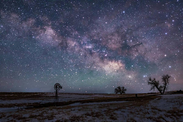 Milky Way Over The Prairie Poster