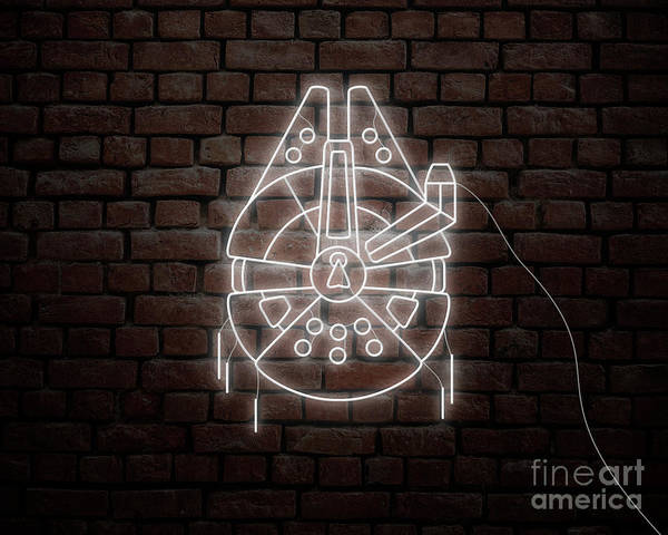 Millennium Falcon Star Wars In Neon Style Poster