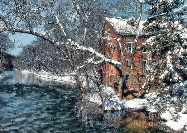 Mill House In Winter Poster