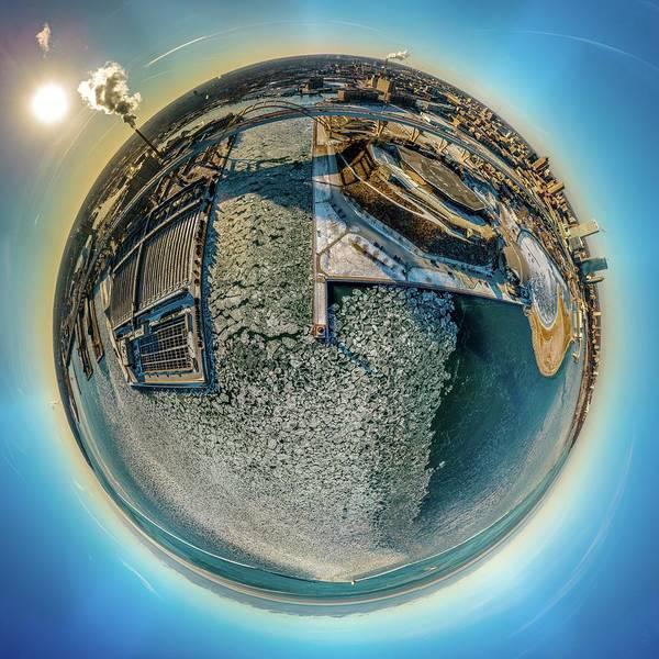 Milwaukee Pierhead Light Little Planet Poster