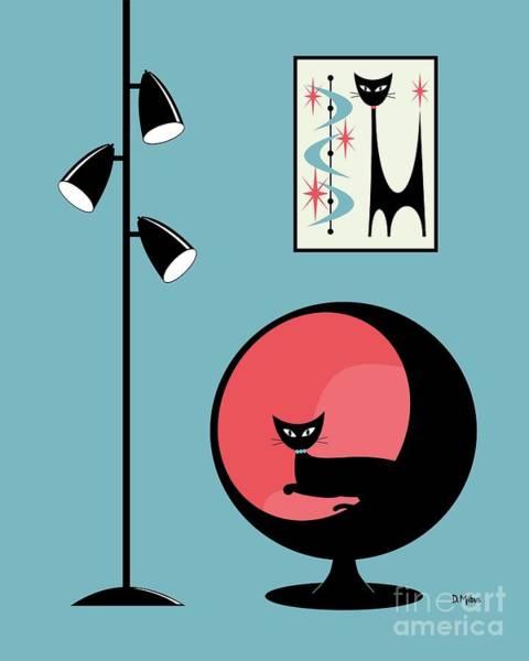 Mini Atomic Cat On Turquoise Poster