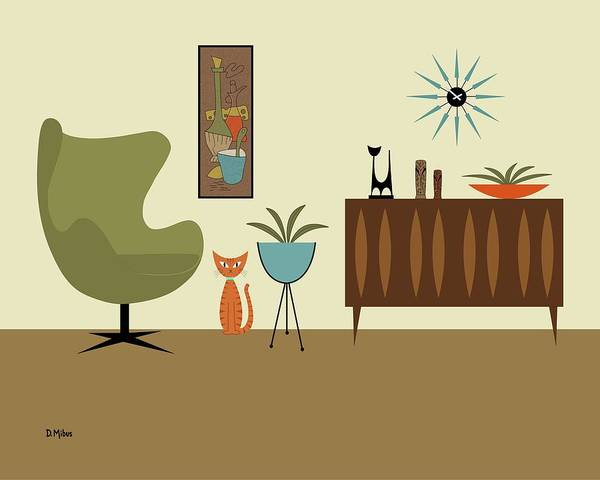 Mini Gravel Art With Orange Cat Poster