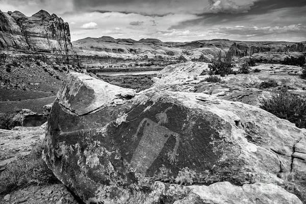 Moab Maiden Petroglyph - Black And White - Utah Poster