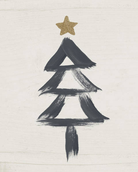 Modern Primitive Black And Gold Tree 2- Art By Linda Woods Poster