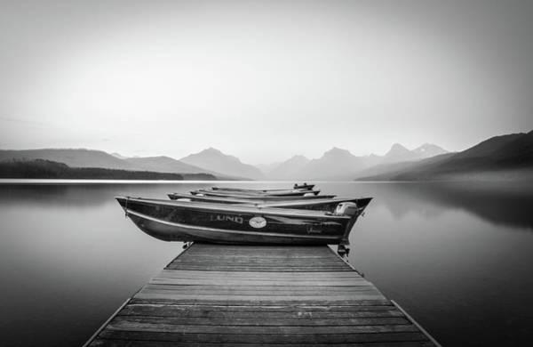 Monochrome // Lake Mcdonald, Glacier National Park Poster