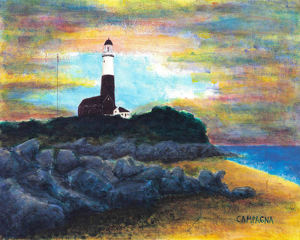 Poster featuring the painting Montauk Point by Teddy Campagna