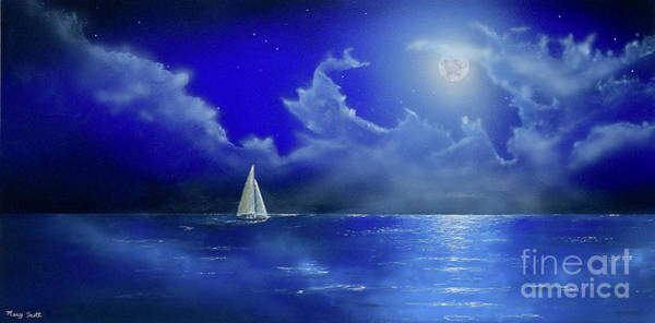 Poster featuring the painting Moon Light Sail by Mary Scott