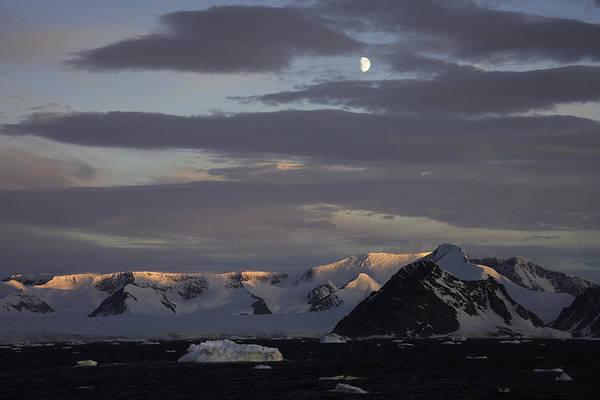 Moon Over Alpine Glow Antarctica Poster
