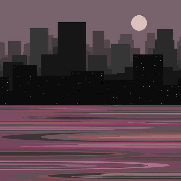 Moon Over Manhattan - A Different View Poster