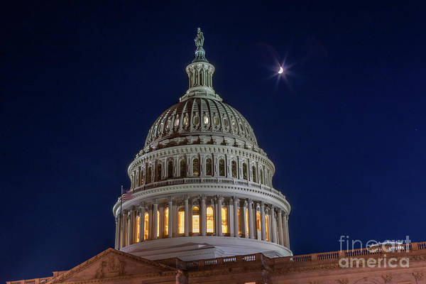 Moon Over The Washington Capitol Building Poster