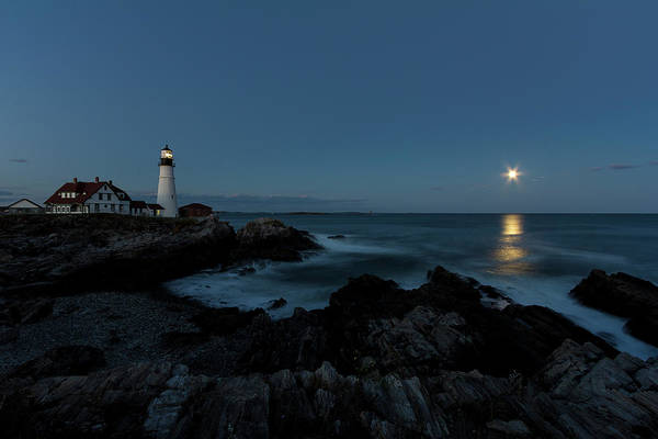 Moon Rise At Portland Headlight Poster