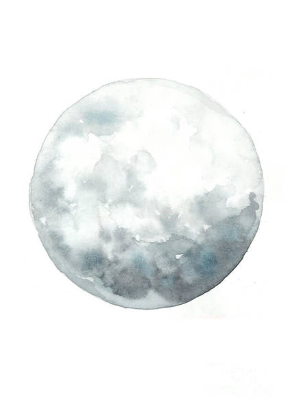 Moon Watercolor Art Print Painting Poster