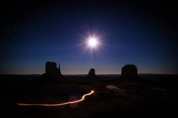 Moonlight Over Valley Poster