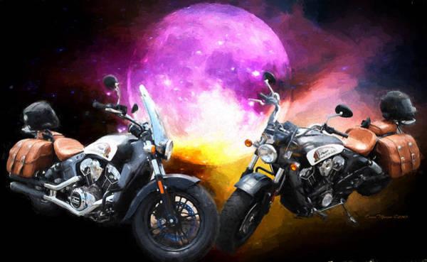 Moonlit Indian Motorcycle Poster