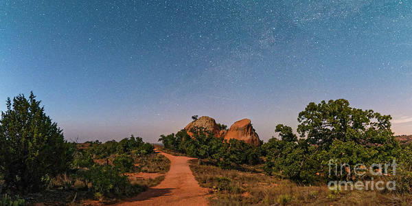 Moonlit Landscape At Enchanted Rock State Natural Area - Fredericksburg Texas Hill Country Poster