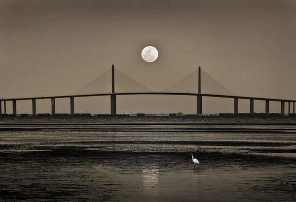 Moonrise Over Skyway Bridge Poster