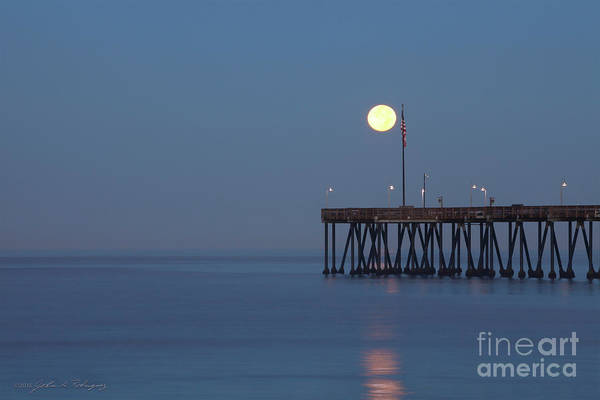 Moonset At The Ventura Pier Poster
