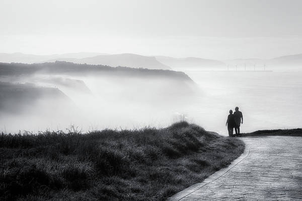 Morning Walk With Sea Mist Poster