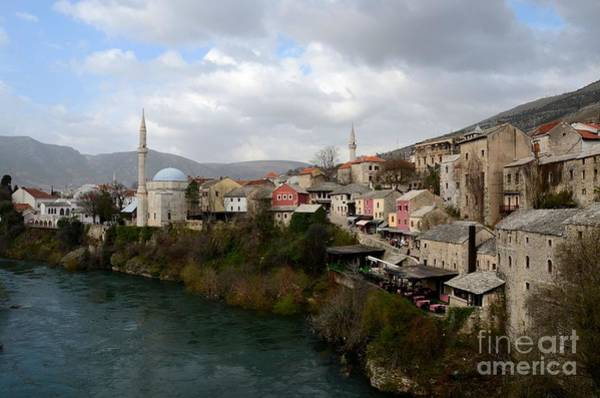 Mostar City With Mosque Minaret Medieval Architecture Neretva River Bosnia Herzegovina Poster