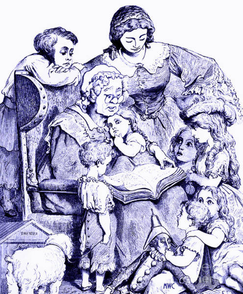 Vintage Mother Goose Reading To Children Poster