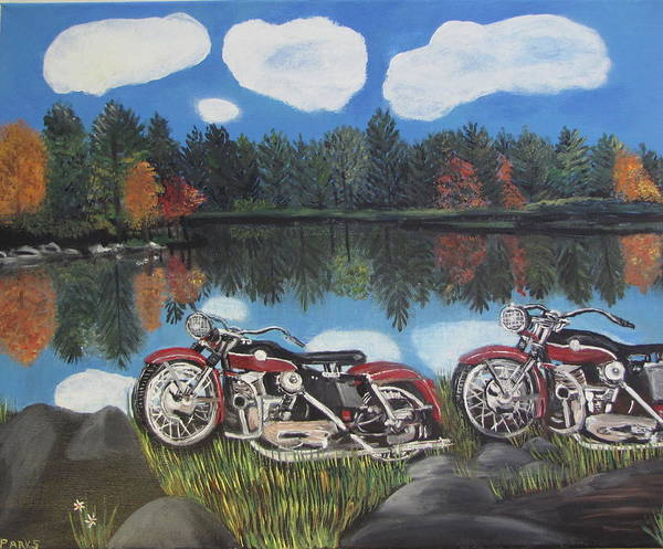 Motorbikes By A Lake Poster