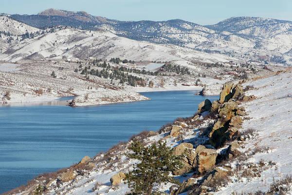 Mountain Lake In Winter Scenery Poster