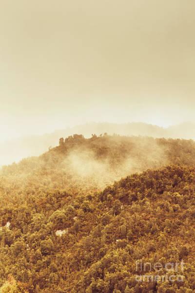 Mountainous Tasmanian Mist Poster