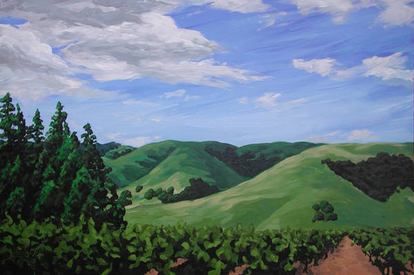 Mountains And  Vineyard Poster