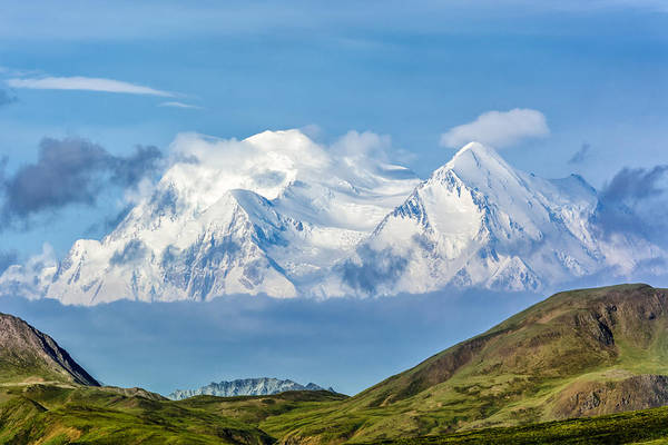 Mt Mckinley Materializes Out Of The Clouds. Poster