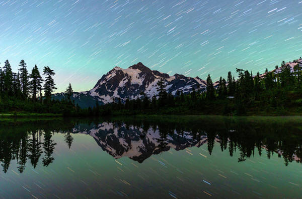 Mt Shuksan And Star Trails Poster