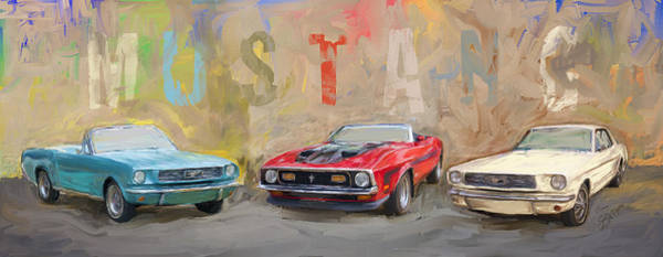 Mustang Panorama Painting Poster
