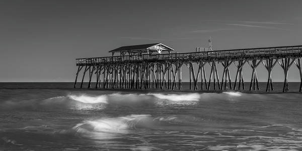 Myrtle Beach Pier Panorama In Black And White Poster