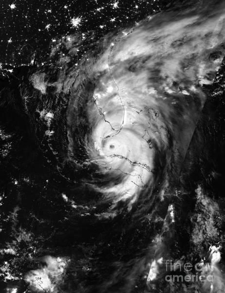 Nasa Hurricane Irma Between Cuba And Florida Satellite Image Poster