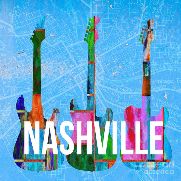 Nashville Guitars Music Scene Poster