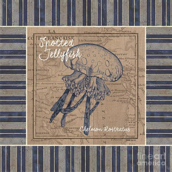 Nautical Stripes Jellyfish Poster