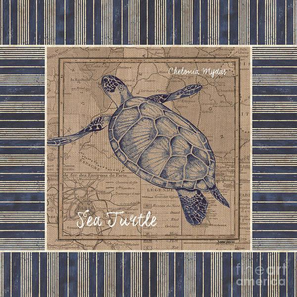 Nautical Stripes Sea Turtle Poster