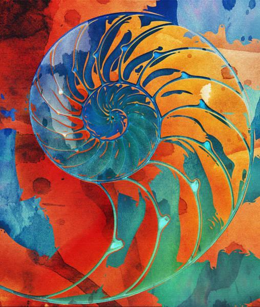 Nautilus Shell Orange Blue Green Poster