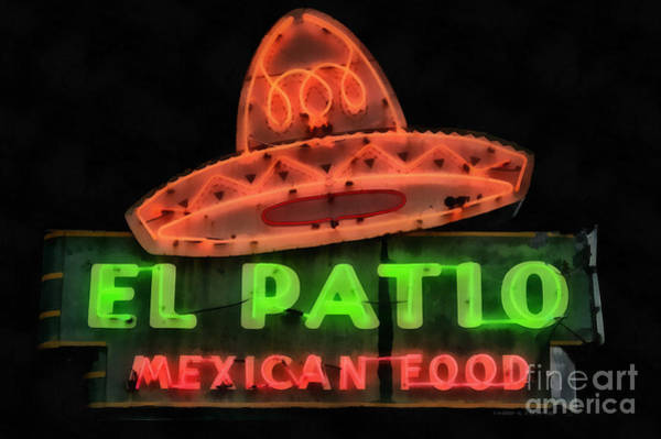 Poster featuring the painting Neon Sign Series Mexican Food Austin Texas by Edward Fielding