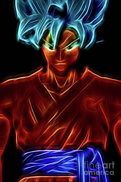 Neon Ss God Goku Poster