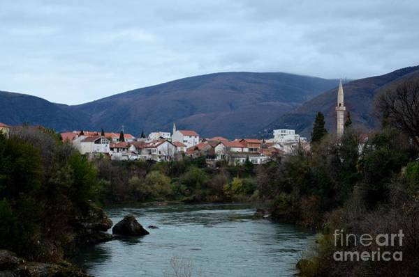 Neretva River And Mostar City And Hills With Mosque Minaret Bosnia Herzegovina Poster