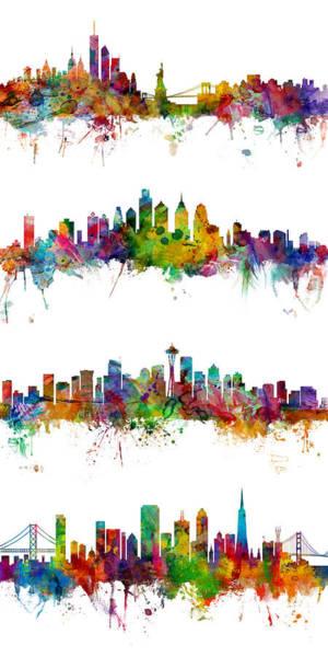 New York, Philadelphia, Seattle And San Francisco Skylines Poster